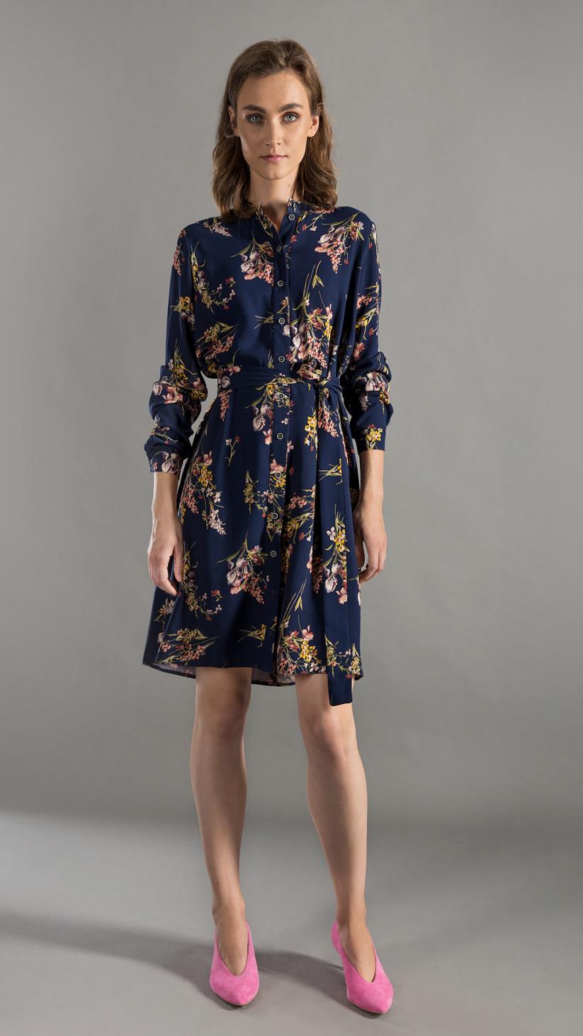 Sukienka Bonnie | Kwiecisty Granat | Luźna szmizjerka wiązana w pasie