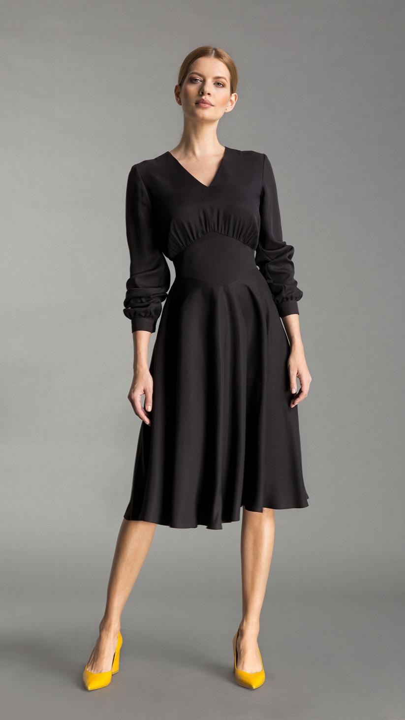 Sukienka Caroline | Elegancka Czerń | Romantyczna sukienka z dołem z 3/4 koła