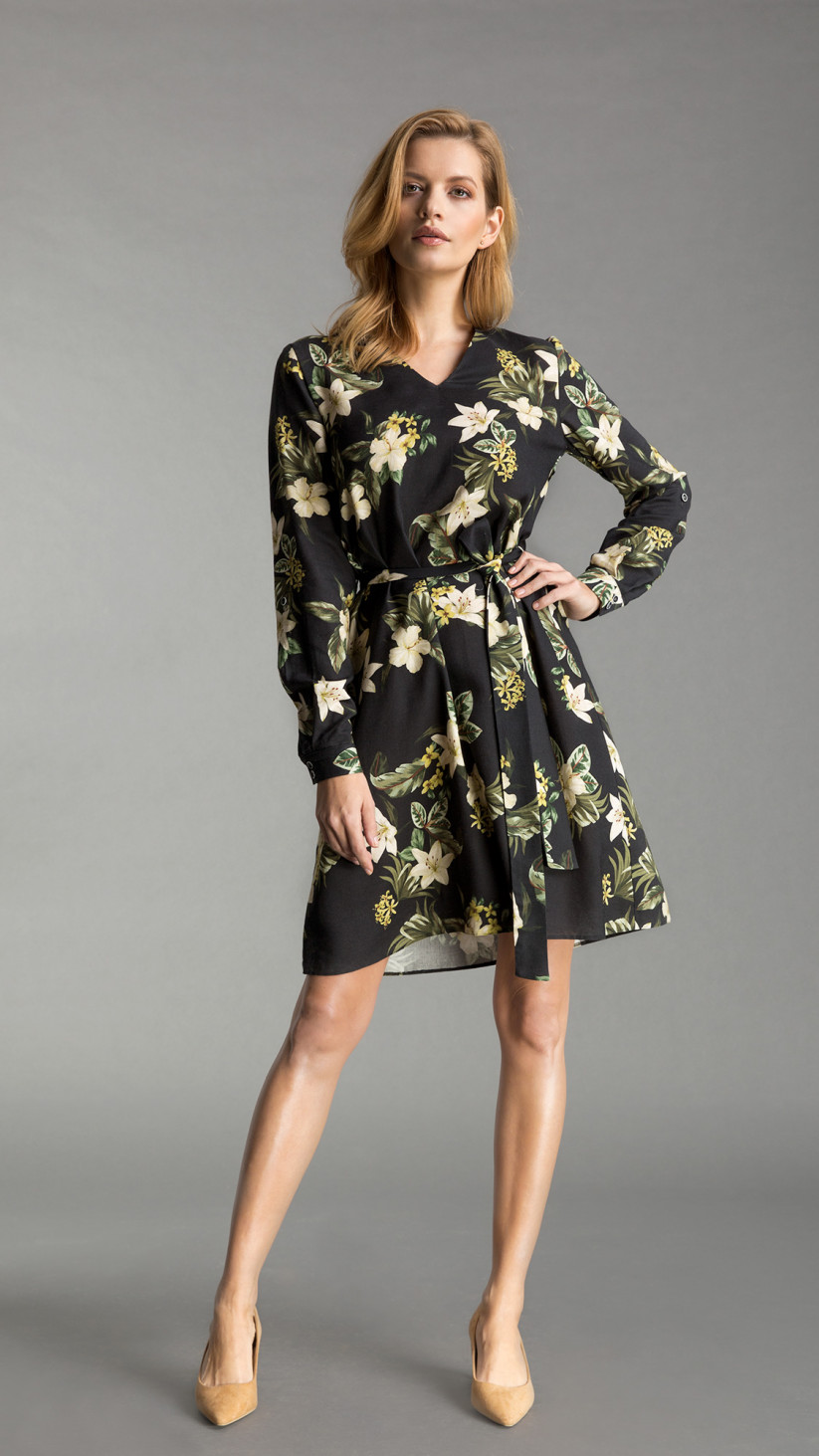 Sukienka Nicole | Kwiecista Czerń | Lekka lniana sukienka o kroju przedłużonej koszuli