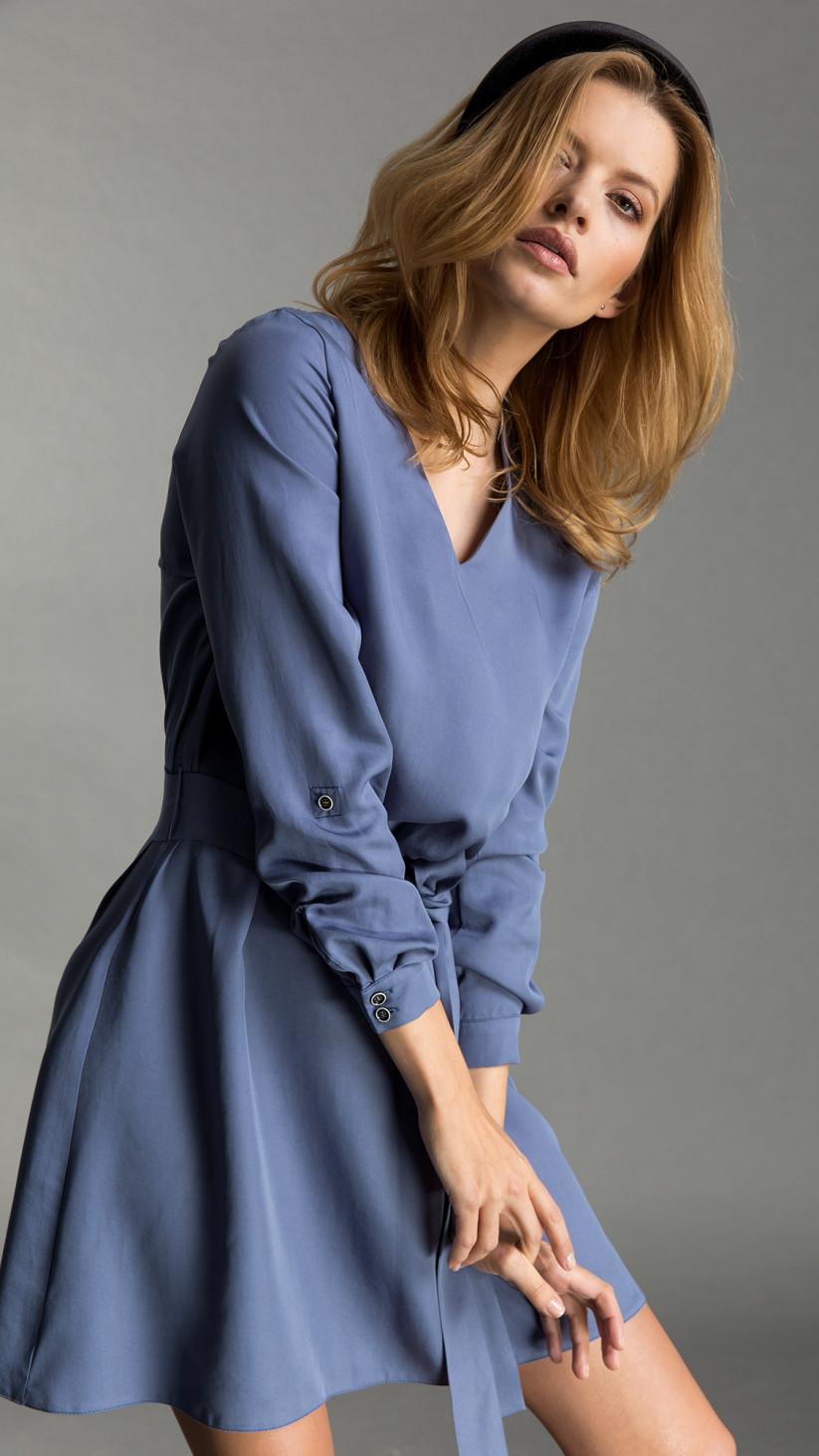 Sukienka Nicole | Pastelowy Niebieski | Lekka sukienka uszyta z tencelu, o kroju przedłużonej koszuli