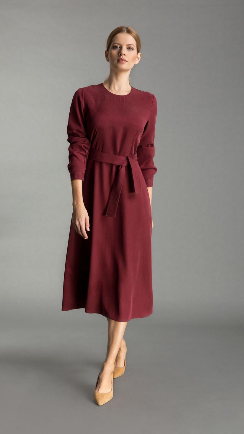 Sukienka Emma| Pastelowy Bordowy | Klasyczna sukienka midi uszyta z Tencelu