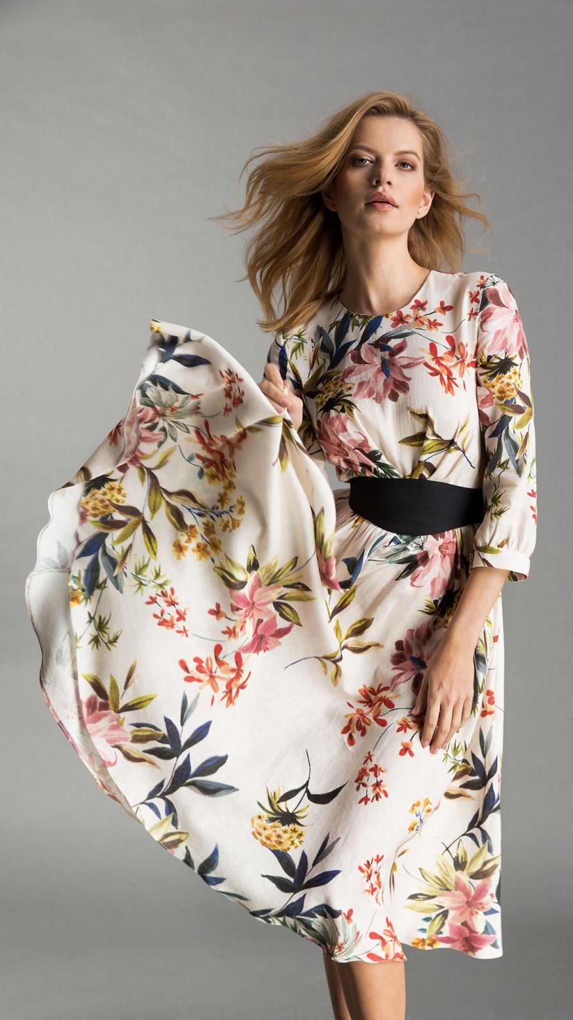 Sukienka Yvonne   Kwiecisty Biały   Romantyczna, lniana sukienka midi z rękawem ¾