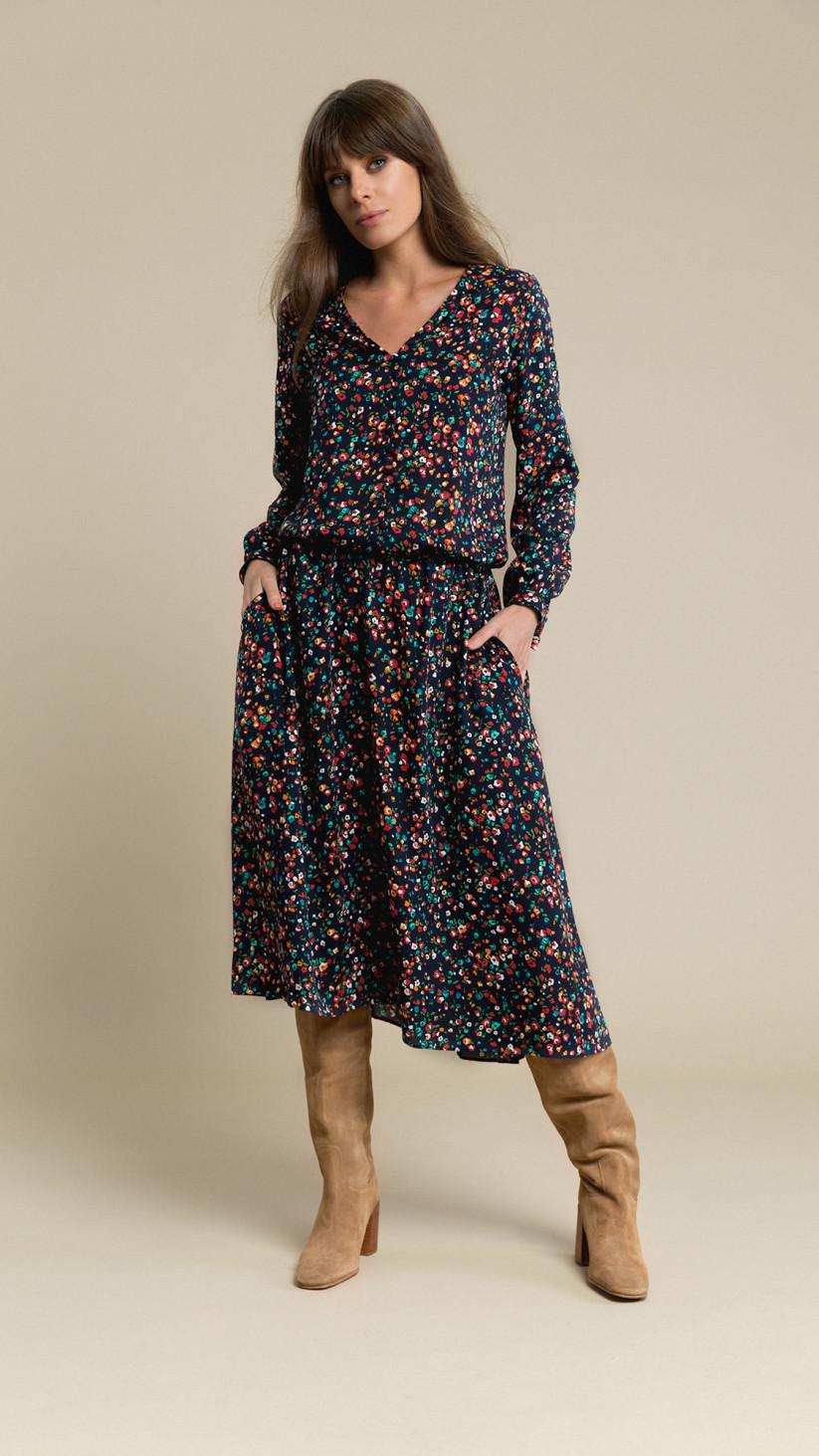 Sukienka Alice | Granat Multikolor | Rozkloszowana midi z długim rękawem