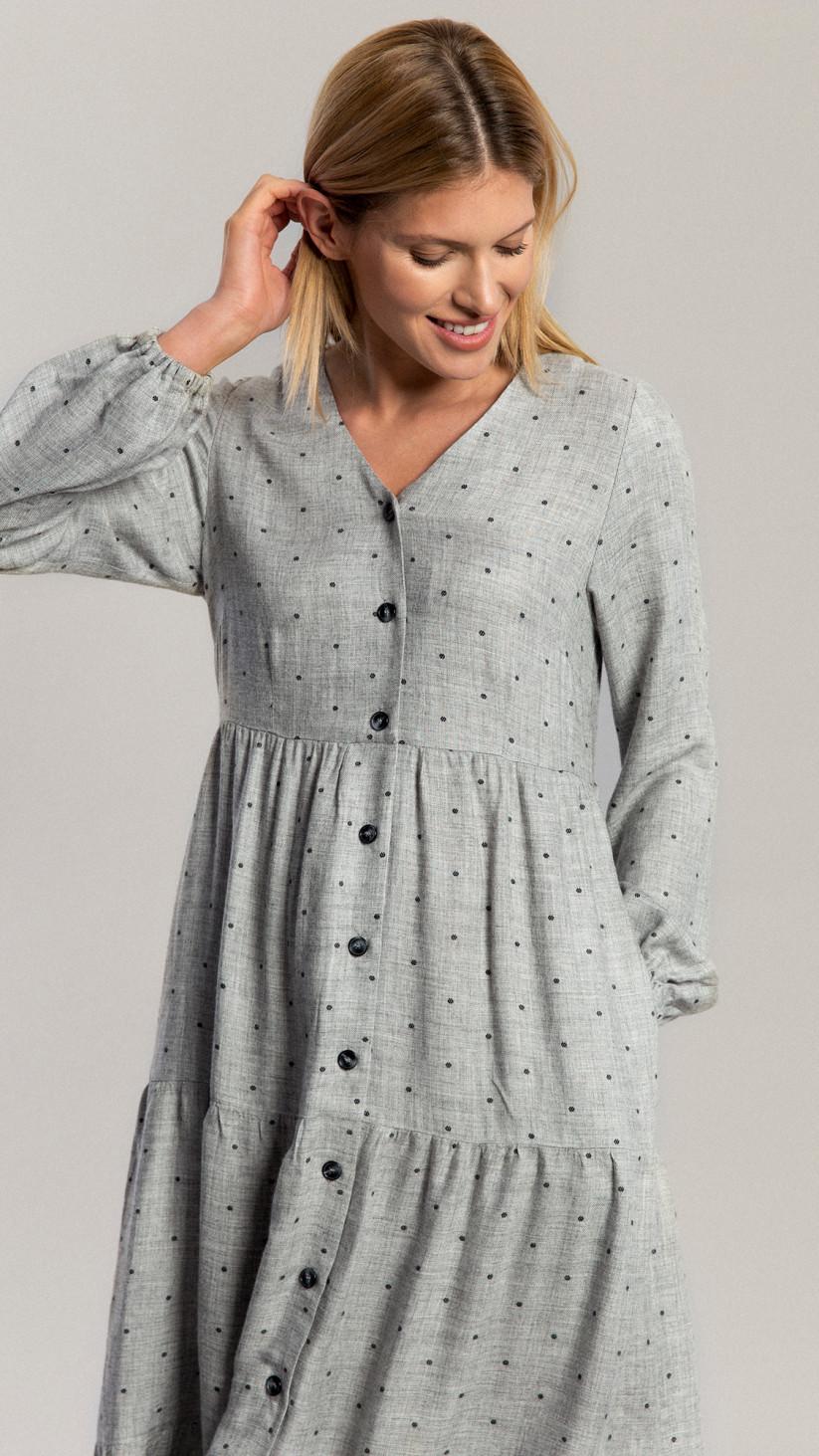 Sukienka Rechael | Szary w Kropki |  Rozkloszowana sukienka ⅞