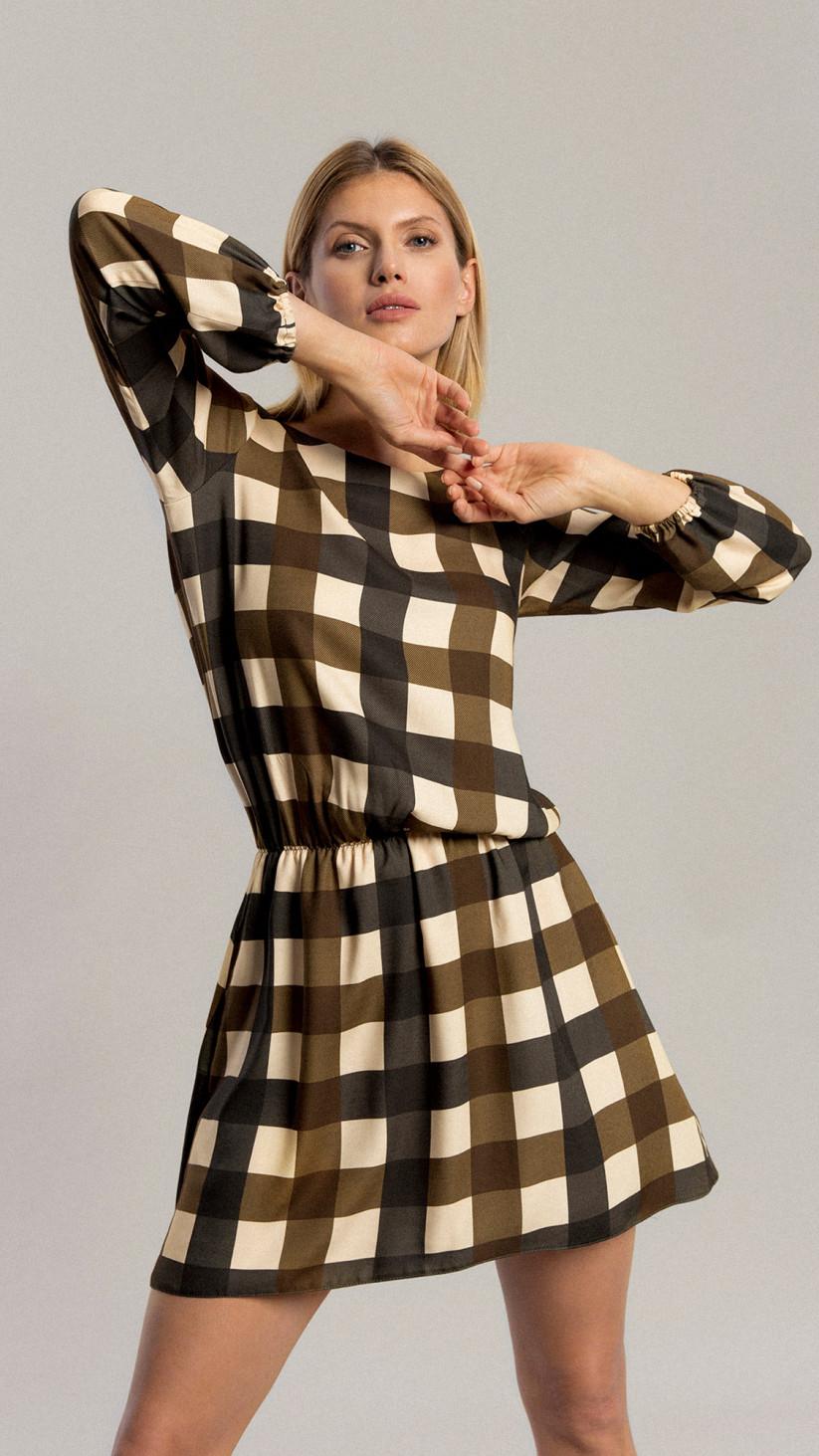 Sukienka Aster   Krata Khaki   Sukienka mini z gumką w pasie