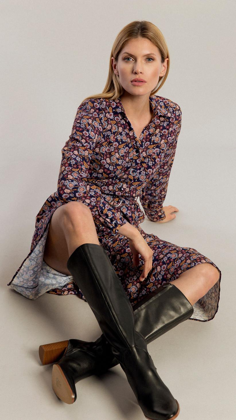 Sukienka Amber | Kwiecisty Granat | Sukienka midi z paskiem