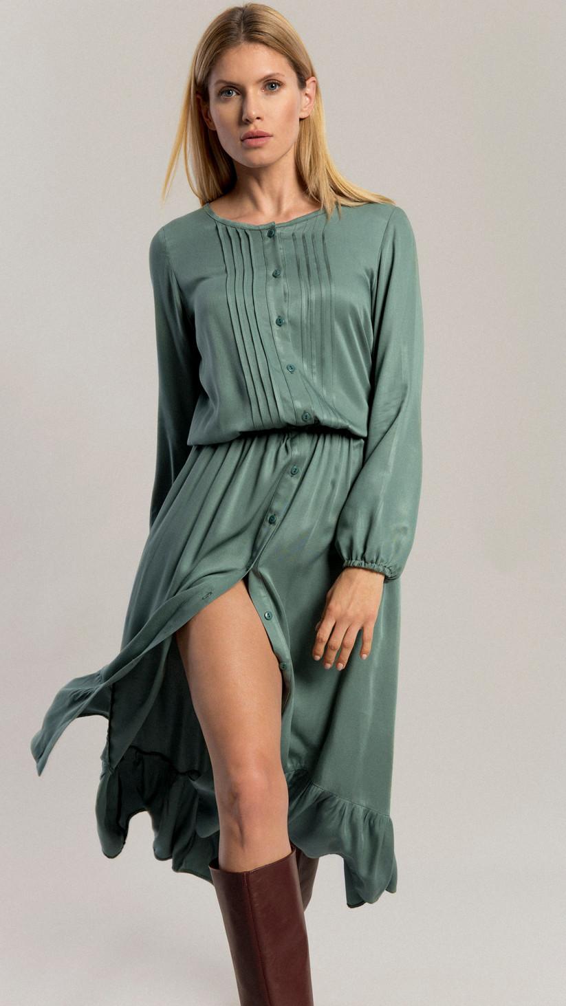Sukienka Lilly | Pastelowa Zieleń  | Sukienka ⅞ z falbaną