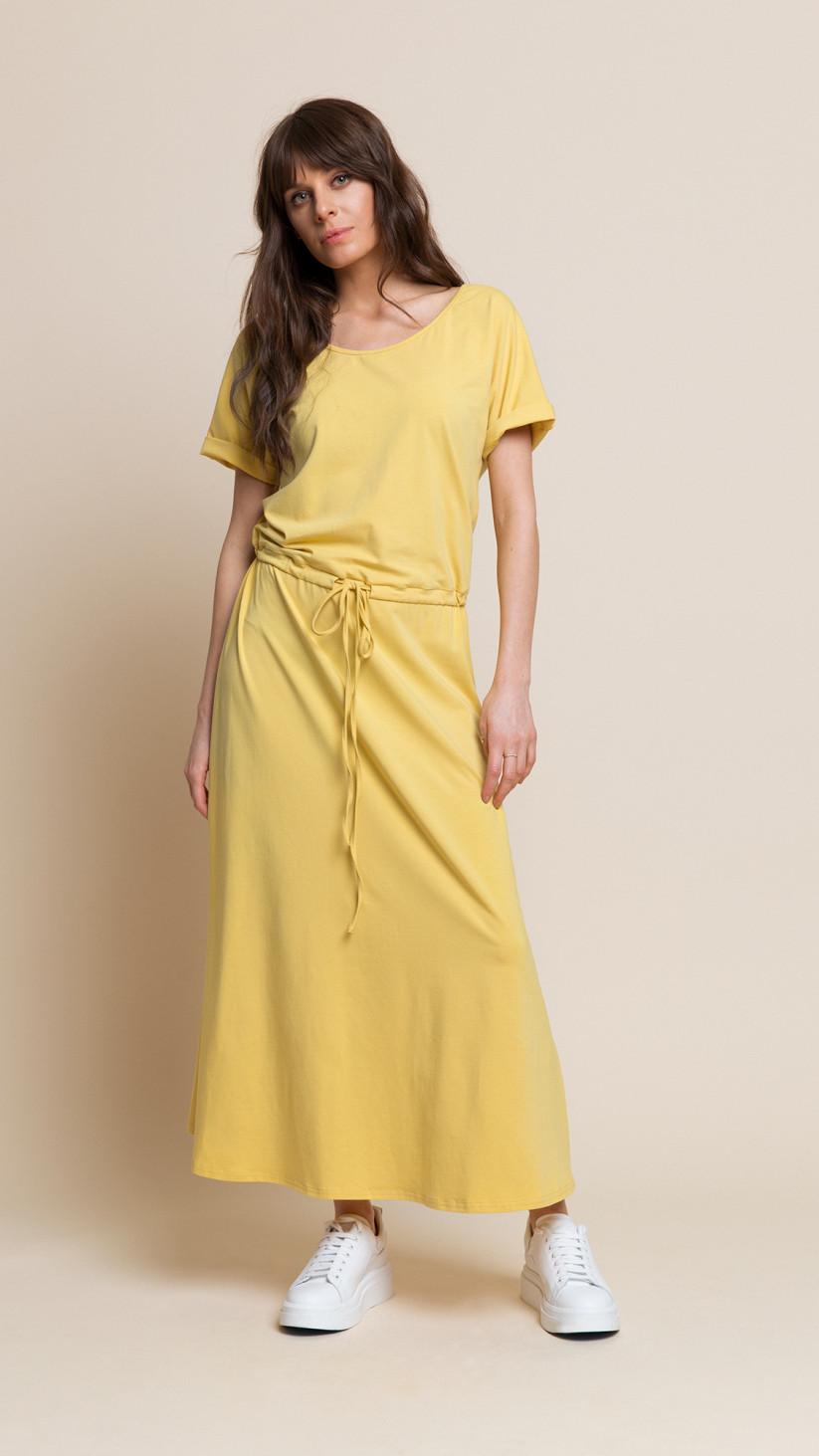 Sukienka Cindy | Słoneczny Żółty | Sukienka basic ⅞ z wiązaniem w pasie