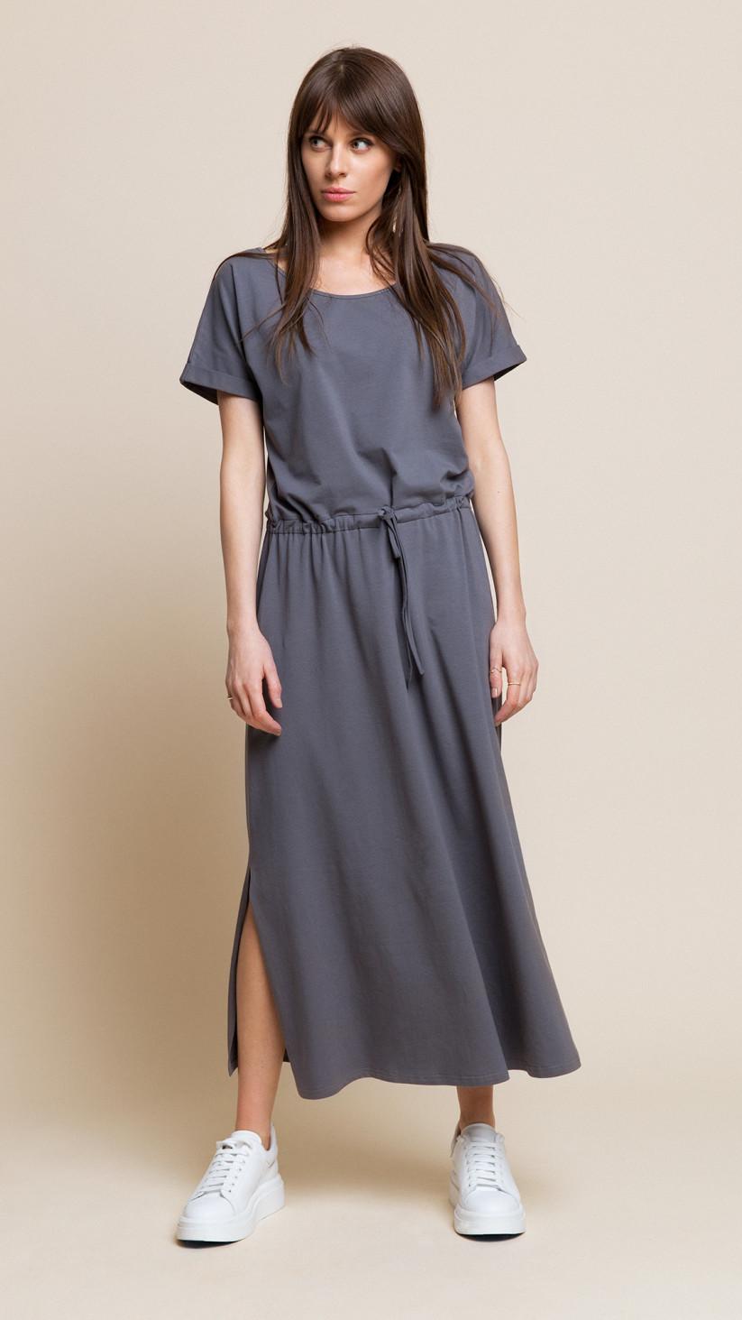 Sukienka Cindy | Klasyczny Szary | Sukienka basic ⅞ z wiązaniem w pasie