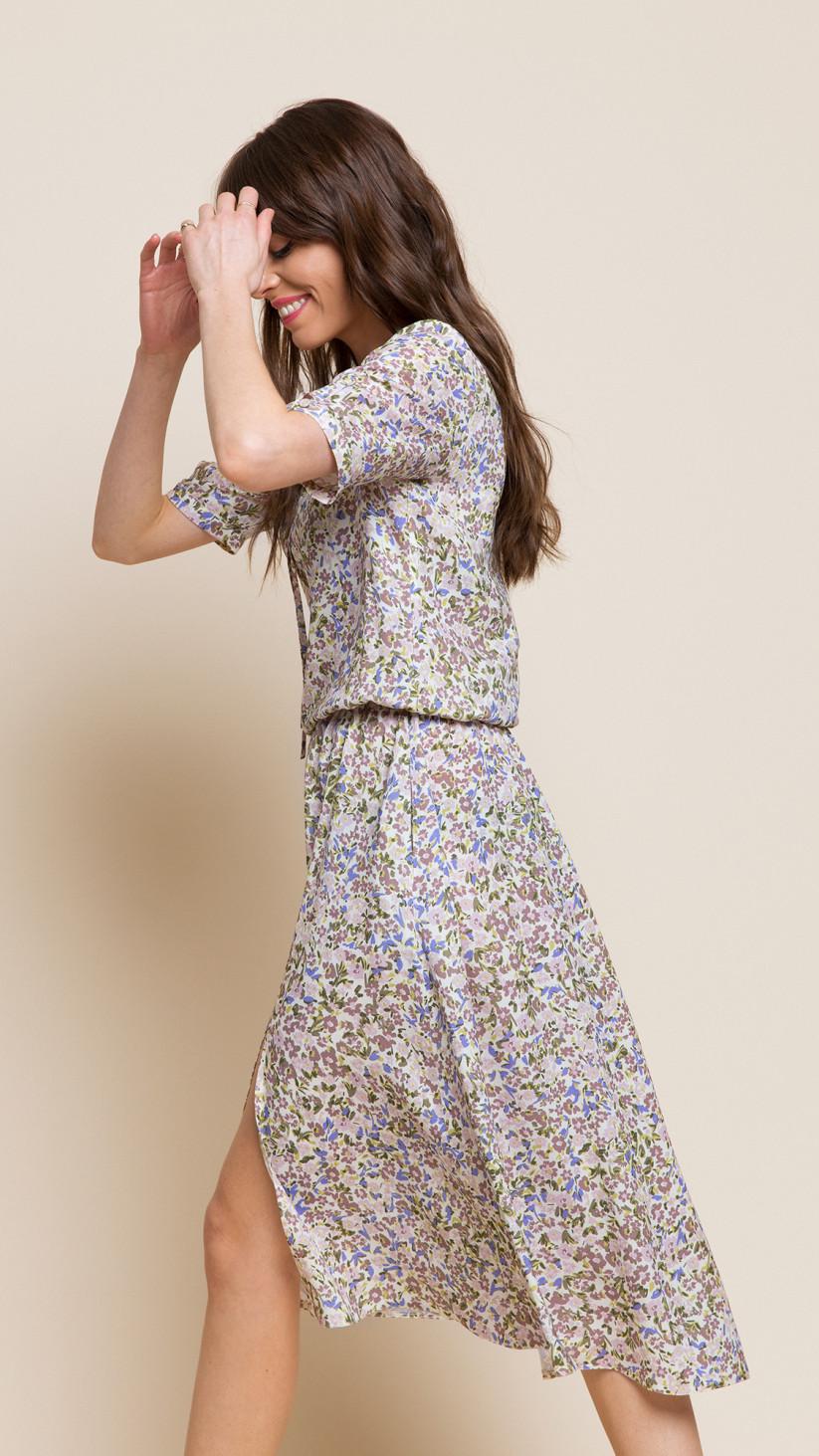Sukienka Melissa | Kwiecisty Beż | Zwiewna midi z wiązaniem przy dekolcie
