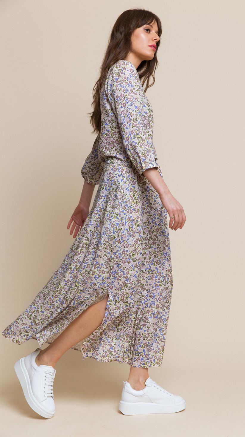 Sukienka Nancy | Kwiecisty Beż | Sukienka 7/8 z wiązaniem w pasie