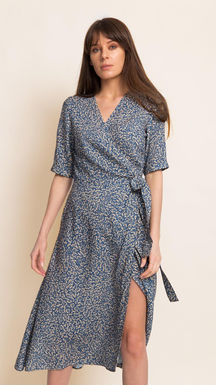 Sukienka Natalie | Kwiecisty Błękit | Kopertowa midi z paskiem