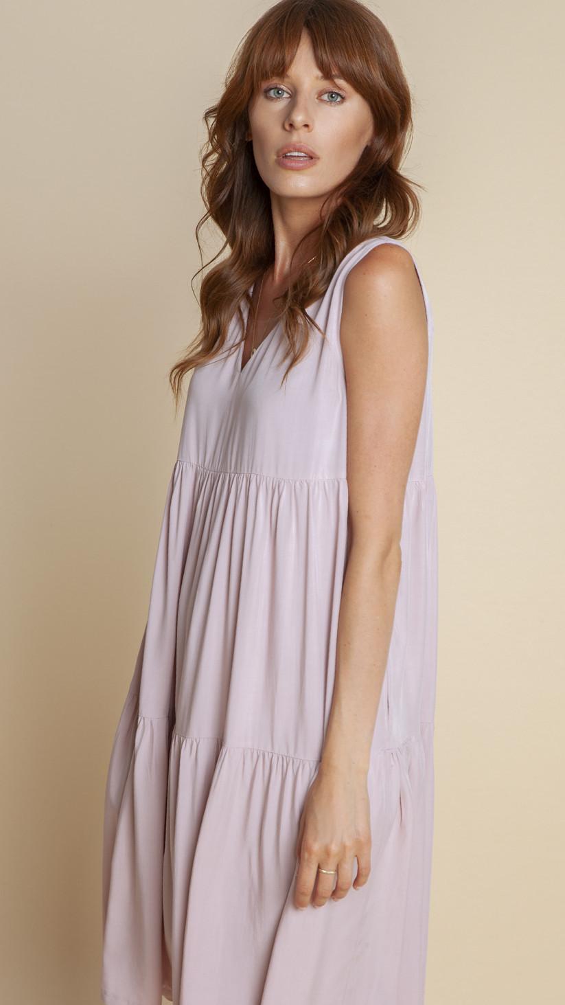 Sukienka Celine | Pudrowy Róż | Sukienka z falbankami na szerokich ramiączkach