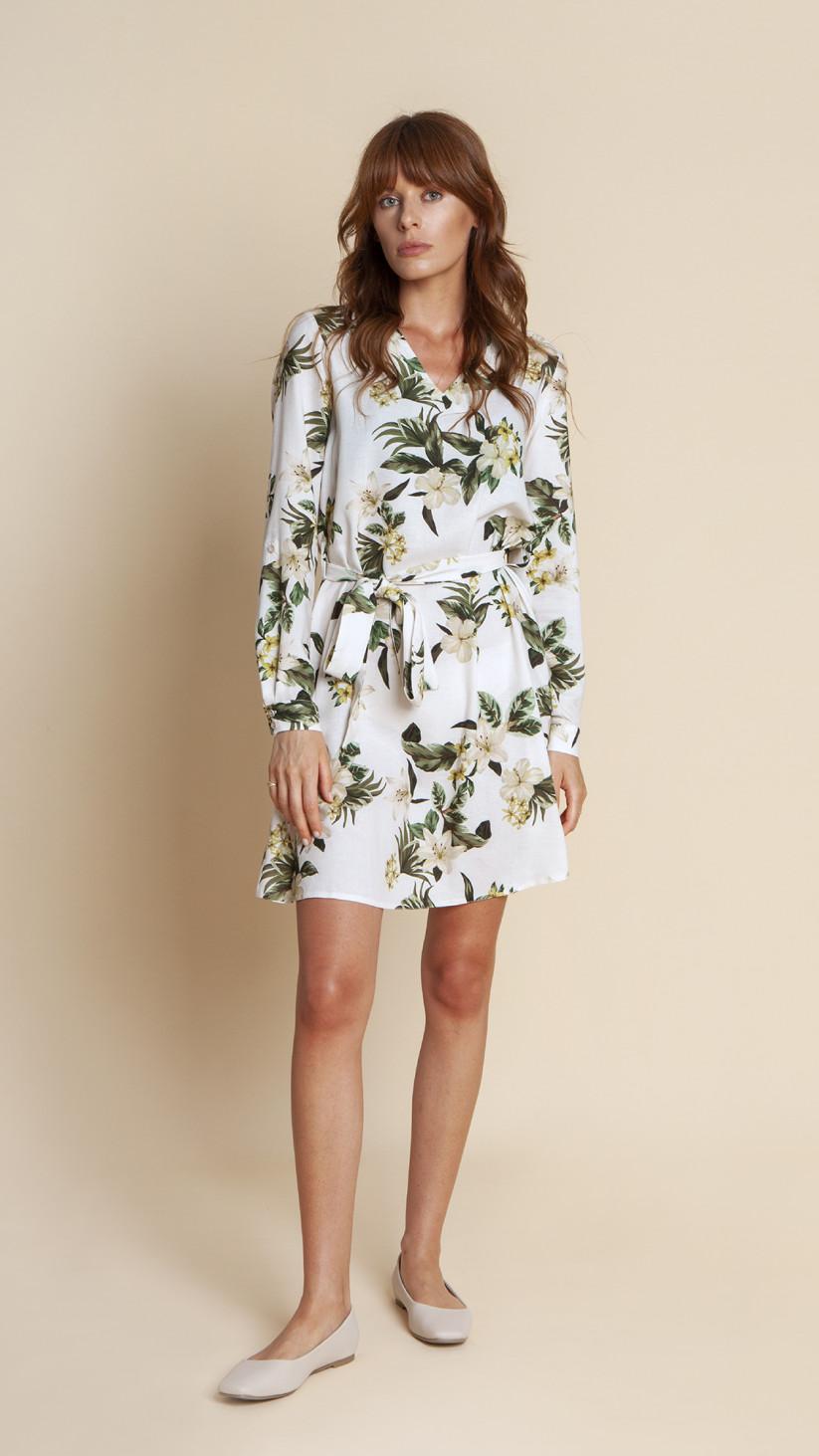 Sukienka Nicole | Kwiecisty Biały | Lekka lniana sukienka o kroju przedłużonej koszuli